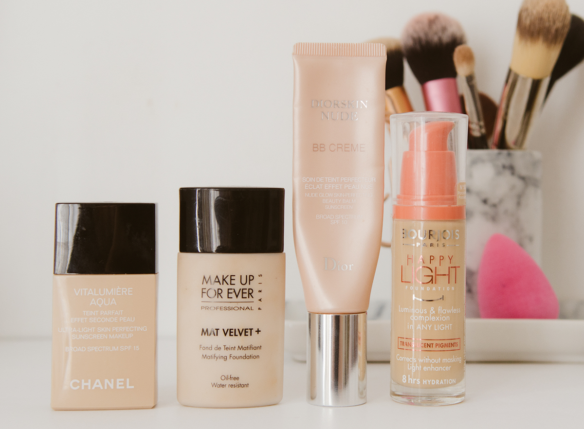 Chanel Aquavita Lumiere, MUFE Mat Velvet +, Dior BB Cream, Bourjois Happy Light