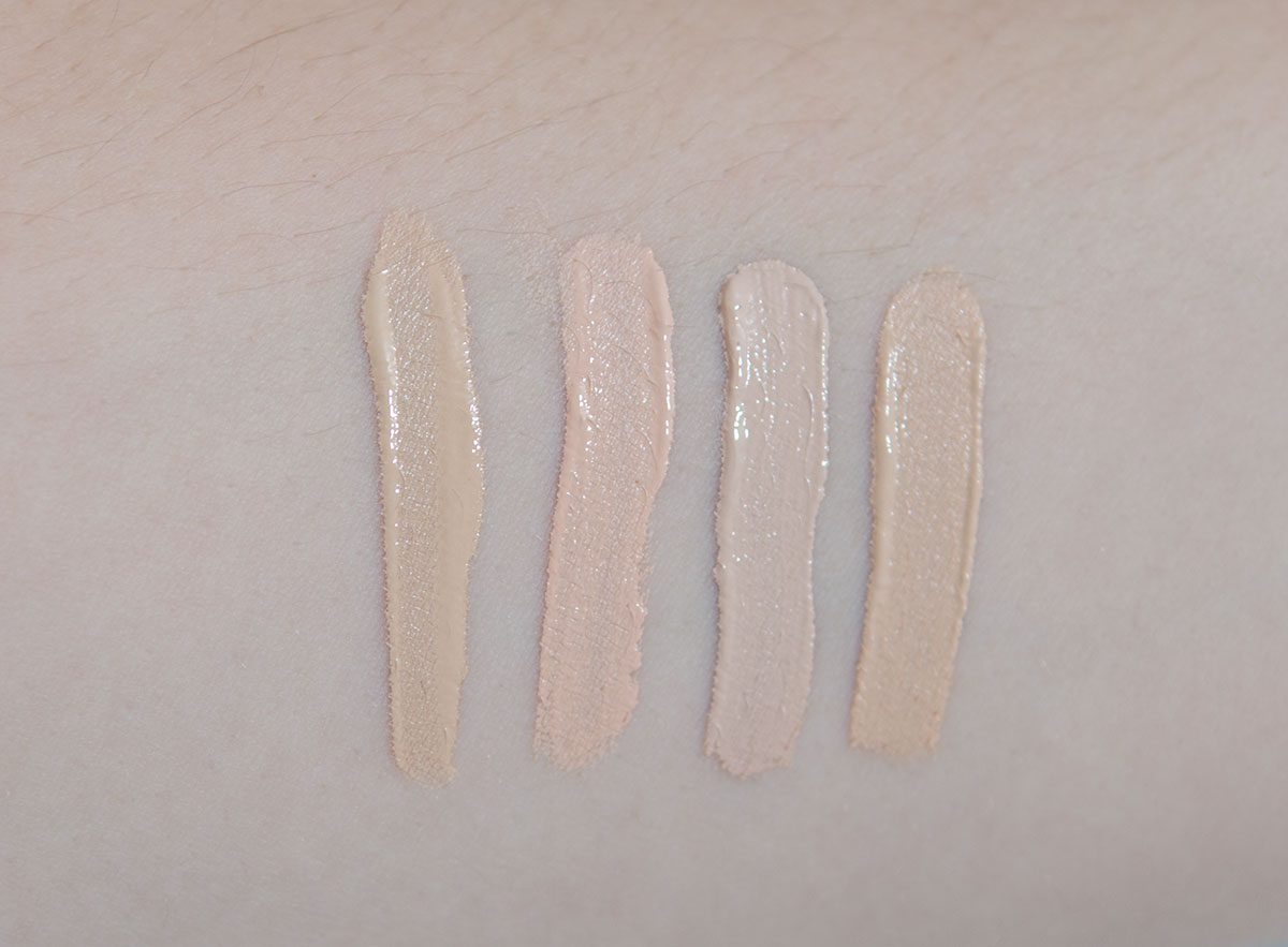 L-R: Bare Minerals Bare Skin Concealer in Light, NYX HD Concealer in Fair, Nars Radiant Creamy Concealer in Vanilla, Chanel Long Lasting Perfecting Concealer in B10
